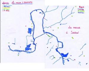 Plan du réseau hydrographique de la Meuse à Sedan